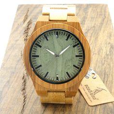 New Arrival Original Bamboo Wood Men's Wristwatch Classic Folding Clasp Quarzt Movement Wrist Watch