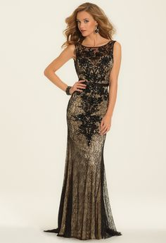 Two Tone Lace Center Bead Motif Dress from Camille La Vie and Group USA