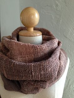 Handwoven shawl scarf in two shades of brown color in loose weaving pattern on Etsy, $46.00