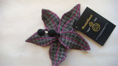 Harris tweed flower pin, made in Scotland