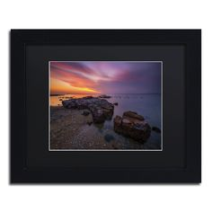 Beach at Sunset 6 by Lincoln Harrison Matted Framed Photographic Print