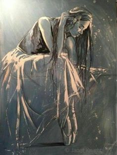 Feeling extremely inspired this morning! ☀️ By this gorgeous piece of art. Created by Janet Knight Ballet Painting, Dance Paintings, Ballet Art, Figure Painting, Painting & Drawing, Ballerina Kunst, Ballerina Shoes, Figurative Kunst, Art And Illustration
