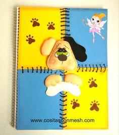 Un lindo , original y sorprendente cuaderno decorado con foamy , incluye toda la explicación de como  hacerlo, fotos, moldes y tips ,