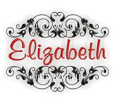 Elizabeth  Monogram Font Frame Machine Embroidery by Embroitique, $2.99
