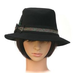 FEDORA - 100% brushed woollen, vintage silk tie band & feather - Rosehip Hat Studio
