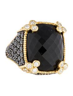 Judith Ripka Onyx and Diamond Monaco Ring