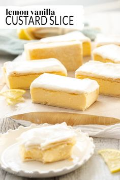 Lemon Vanilla Custard Slice This classic Australian bakery treat, the Vanilla Custard Slice is a sweet, creamy set-custard between with puff pastry, topped with icing. This recipe has an irresistible tang of lemon and is easy to make at home. Mini Desserts, Brownie Desserts, Oreo Dessert, Lemon Desserts, Delicious Desserts, Plated Desserts, Custard Recipes, Lemon Recipes, Sweet Recipes