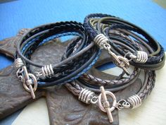 Four Strand Double Wrap Mens Leather by UrbanSurvivalGearUSA