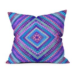 """Deny Rhythm Decorative Pillow, 16"""" x 16"""" ($20) ❤ liked on Polyvore featuring home, home decor, throw pillows, deny designs throw pillows, blue home decor, blue accent pillows, polyester throw pillows and purple throw pillows"""