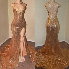 Sexy Gold Sequin Spaghetti-Straps Slit Prom Dresses · Yaydressy · Online Store Powered by Storenvy A-line Prom Dresses,Tulle Prom Dresses,Appliques Prom Dresses Black Girl Prom Dresses, Senior Prom Dresses, Gold Prom Dresses, Sequin Evening Dresses, Straps Prom Dresses, Prom Outfits, Ball Dresses, Ball Gowns, Girls Dresses