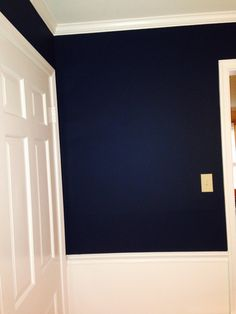 Wall color is Washington Blue by Benjamin Moore (CW-630) and Harwood Putty (CW-5).