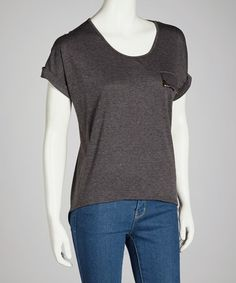 Take a look at this Gray Rolled-Sleeve Top - Women by Buy in America on #zulily today! http://www.zulily.com/invite/kcrim608