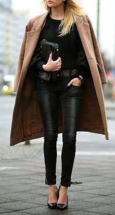 Latest fashion trends: Street style | Black leather pants and camel coat