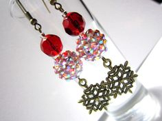 Rhinestone Bead Christmas Earrings with by ChristmasisMagical