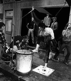 "Michael Jackson on the ""Billie Jean"" set in Los Angeles, 1983."