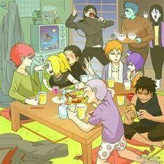 So this is what an Akatsuki party looks like . Kisame brings food, Itachi entertains al . Naruto Shippuden Sasuke, Itachi, Anime Naruto, Naruto Comic, Naruto Akatsuki Funny, Funny Naruto Memes, Naruto Fan Art, Naruto Cute, Naruto Sasuke Sakura