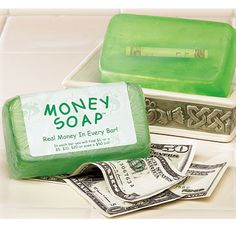 This would be cute in a kids bathroom, guest bathroom, or even in a housewarming gift. This money soap bar is a unique incentive to get the host and their guests to wash their hands!