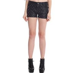 Rivet Embellished Black Faux Leather Shorts #pariscoming your personal style online store. #outfit #stylist #Styling #streetstyle #fashionblog #fashiondiaries #fashiondiary #WearIt #WhatYouWear ✿ ❀ like it? buy now ❀ ✿