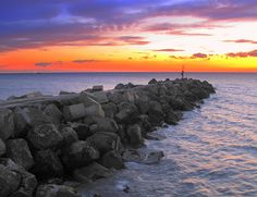 sunset over the solway firth , Workington , Cumbria , England