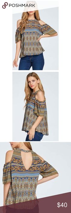 Off shoulder Top Beautiful, Fresh and Sexy Blue and Golden Top. New item. Various sizes available. Tops