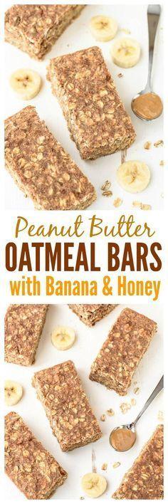 Healthy Snacks - Peanut Butter Oatmeal Bars with Banana and Honey Recipe | healthy recipe ideas @Healthy Recipes |
