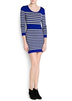 STRIPED COTTON KNIT DRESS - MNG