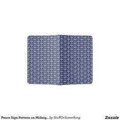 Peace Sign Pattern on Midnight Blue Passport Holder