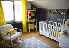 Chambre enfant jaune & grise