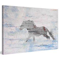 Parvez Taj Grey Horse Trot 2 Painted Canvas Wall Art - PT-BAROMM-301-C-18