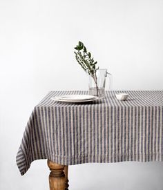 Blue Stripe Stone Washed Linen Tablecloth