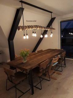 Wooden Furniture, Furniture Design, Dining Area, Dining Table, Wood Lamps, Future House, House Plans, Sweet Home, House Design