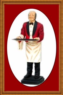"""This Charming Gentleman has a warm smile, slightly bald, real glasses and a large serving tray! His Painted on Red Tux Jacket and Black Trousers make him the best dress butler around. Handcrafted entirely from Resin and is actually larger than life measuring approx 28""""l x 27""""w x 74""""h and weighing approx 62 lbs. You can Welcome your guest with this Life Size Old Man Butler Statue. We would like to welcome you to check out all of our Great Life Size Figures and Displays and Menu Signs. Buy…"""