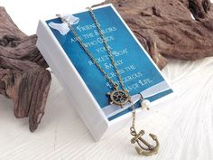 Anchor and Helm Y-Necklace, Best Friend Gift, Thank You Gift, Gift Card, Hope, BFF