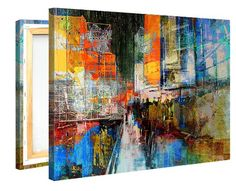 Canvas Print Wall Art - 7th Avenue - 100x75cm Stretched Canvas Framed On A Wooden Frame - Contemporary Art Canvas Printing - Hanging Wall Deco Picture By Gallery Of Innovative Art: Amazon.co.uk: Kitchen & Home