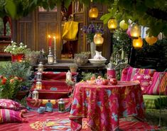 Outdoor setting complete with party lanterns