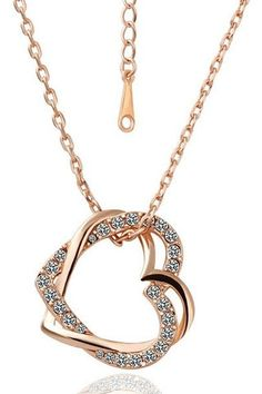 Swarovski Crystal 18K Double Heart Necklace  - Choose from 18K rose or white gold plating - Save 83% Just $19
