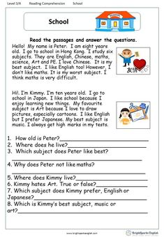 A Letter from Uncle Sam English Comprehension Worksheet – English Treasure Tro. Learning English For Kids, English Worksheets For Kids, English Lessons For Kids, Learn English Words, Kids English, English English, English Activities, First Grade Reading Comprehension, Reading Comprehension Worksheets