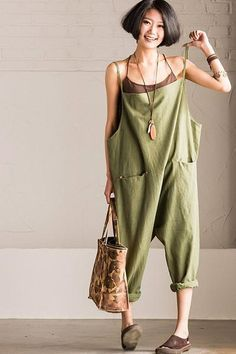 a148ff11e5 Causel Cotton Linen Loose Overalls Big Pocket Trousers Women Clothes Jean  Overalls