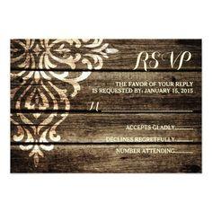 Shop Rustic Barn Wood Damask Vintage Wedding RSVP Card created by ModernMatrimony. Barn Wedding Invitations, Wedding Reception Cards, Wedding Rsvp, Damask Wedding, Snowflake Wedding, Maroon Wedding, Rustic Invitations, Wedding Ideas, Shower Invitations