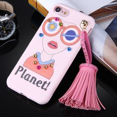 [$3.38] For iPhone 7 Fashion Girl in Orange and Wearing Glasses Pattern Soft TPU Protective Back Cover Case with Tassel Pendant(Pink)