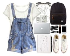 """""""too cool for school"""" by bluevelvetmoon ❤ liked on Polyvore featuring Calypso St. Barth, Herschel, Monique Péan, Converse, Clips and Tory Burch"""