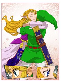 """The Legend of Zelda: Ocarina of Time / Adult Link and Adult Princess Zelda / """"Hugs?"""" - Work by Hunter x Hunter - ship these two so much in this game."""