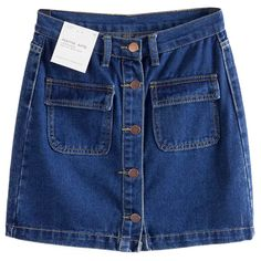 Chicnova Fashion Button Front A-line Denim Mini Skirt (360 UAH) ❤ liked on Polyvore featuring skirts, mini skirts, a line skirt, high waisted denim skirt, short skirts, denim skirt and high-waist skirt