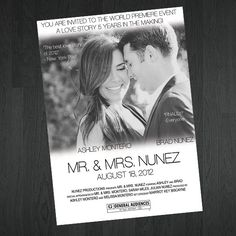 Save The Date or Wedding Invitation Movie by MemorableImprints, $15.00---- esty