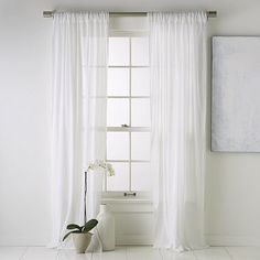 window treatment - white textured sheer curtain panels to let light in. #bebetsy #contest