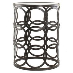@Overstock.com - 'Circles' Metal Barrel Table - Simplicity and elegance combine in this contemporary and stylish barrel table, complete with an oil rubbed bronze finish, interlaced circle accents and an airy design.   http://www.overstock.com/Home-Garden/Circles-Metal-Barrel-Table/7910649/product.html?CID=214117 $124.99
