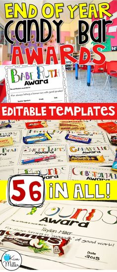 End of Year Candy Bar Awards for Students - editable templates - 56 in all End Of Year Activities, Teaching Activities, Teaching Resources, End Of School Year, Middle School, Sunday School, Classroom Organization, Classroom Management, Classroom Ideas