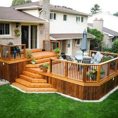 See how building your own easy deck in your backyard can be a do it yourself project with a little planning and inspiration. Get 40 design ideas for turning your deck or patio into an outdoor retreat because the best . Cool Deck, Diy Deck, Patio Plan, Deck Plans, Tiered Deck, Tiered Garden, Diy Terrasse, Deck Builders, Backyard Patio Designs