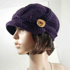 crochet ribbed aubergine wool newsboy hat - Coloration Aubergine