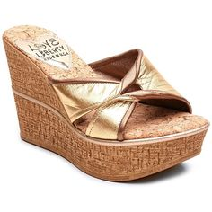 Love and Liberty Colette Cork Wedge Sandal ($70) ❤ liked on Polyvore featuring shoes, sandals, gold, cork wedge platform shoes, open toe sandals, slip on shoes, cork wedge heel sandals y open toe platform shoes